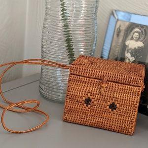 Mini box purse, wicker shoulder strap purse